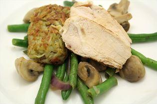 Kylling med røstikartoffel og grønsager