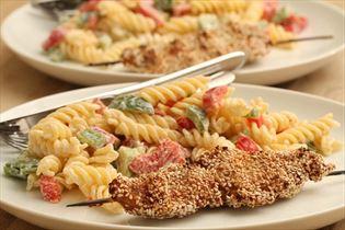 Kylling på spyd med pastasalat