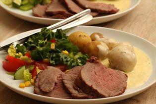 Roastbeef med kartofler og bearnaisesauce
