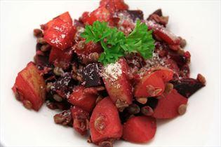 Linser med grønsager og parmesan
