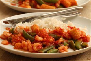 Rejer i chilisauce med ris