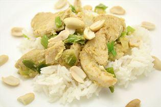 Kylling med karrypasta og ris