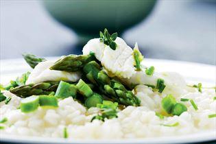 Risotto med ising og asparges