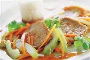 Marinerede sauté-skiver med grøntsager