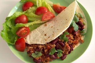 Tortillaer med chili-kødfyld