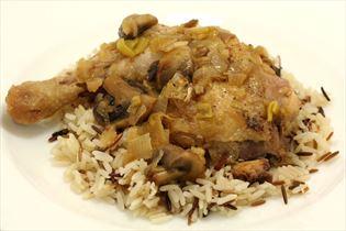 Kylling i hvidvin med ris