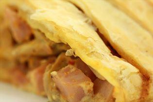 Skinkestang med pikantost og champignon