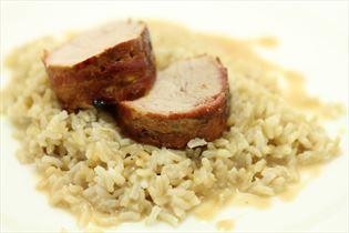 Mørbrad som vildt med brune ris