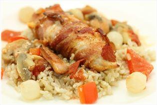Kylling i fad med brune ris