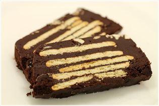 Kiksekage med palmin og kakaopulver