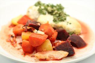 Stegesoens nemme kylling med grøntsager