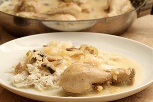 Kylling med bladselleri og champignon
