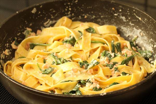 pasta med pesto og laks