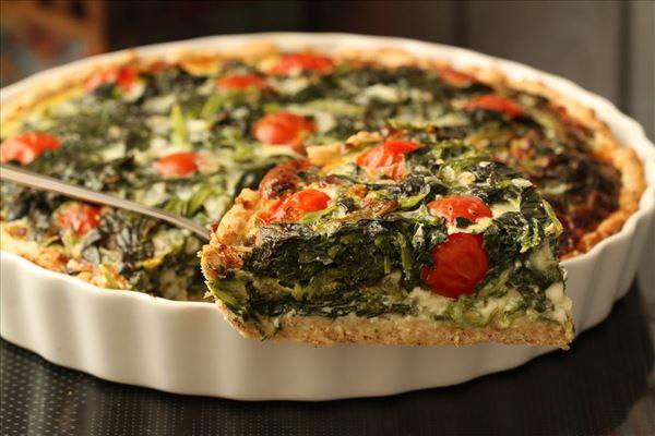 spinattærte med frisk spinat